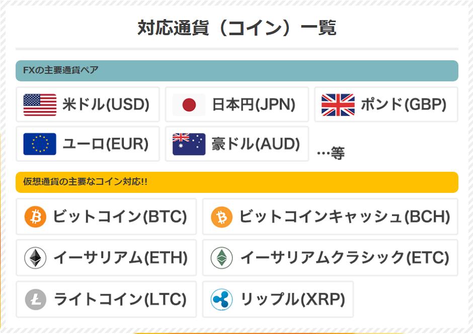 対応となる通貨(コイン)一覧